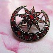 Antique Bohemian Garnet Crescent Moon and Star Pin Victorian Romance
