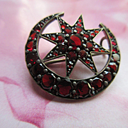 Antique Bohemian Garnet Crescent Moon and Star Pin Victorian Romance