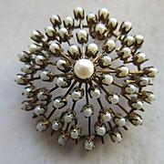 Older Vintage 10K Cultured Pearl Pin Pendant Star Burst