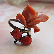 Antique Coral Rose Ring