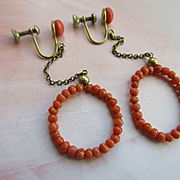 Circa 1920 Natural Coral Screw Back Hoop Earrings
