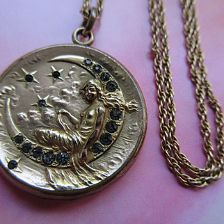 Antique Art Nouveau Repousse Paste Moon and Star Lady Locket in Gold Fill