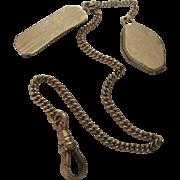 Deco Circa 1920 Men's Watch Chain Tie Bar with Locket Fob