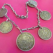 Vintage Netherlands East Indies Coin Bracelet 1941 1942