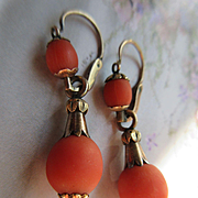 Victorian Natural Coral 10K Day Night Earrings Antique Pierced Earrings