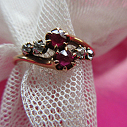 Antique Ruby and Diamond 10K Ring Fine Estate Jewelry
