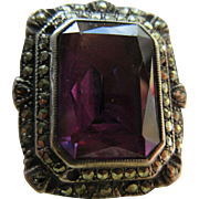 Vintage Deco Crystal Marcasite Ring Circa 1930 Statement Ring