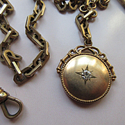 Victorian Watch Chain with Star Burst Fob Wedding Jewelry Mens Fashion