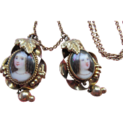 Victorian Painting on Porcelain Gold Fill Necklace