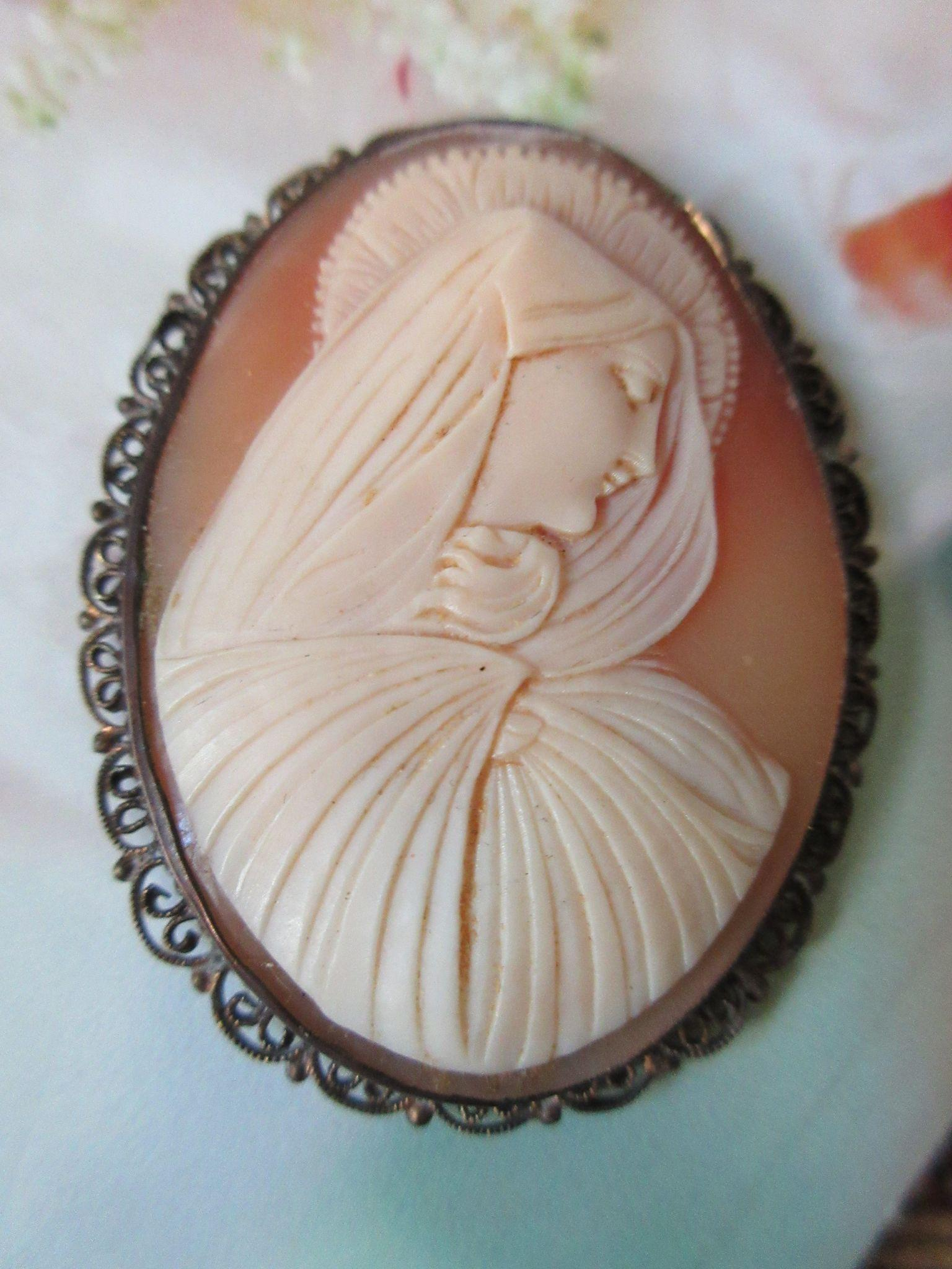 Older Vintage Circa 1920 Blessed Mother Carved Shell Cameo 800 Silver