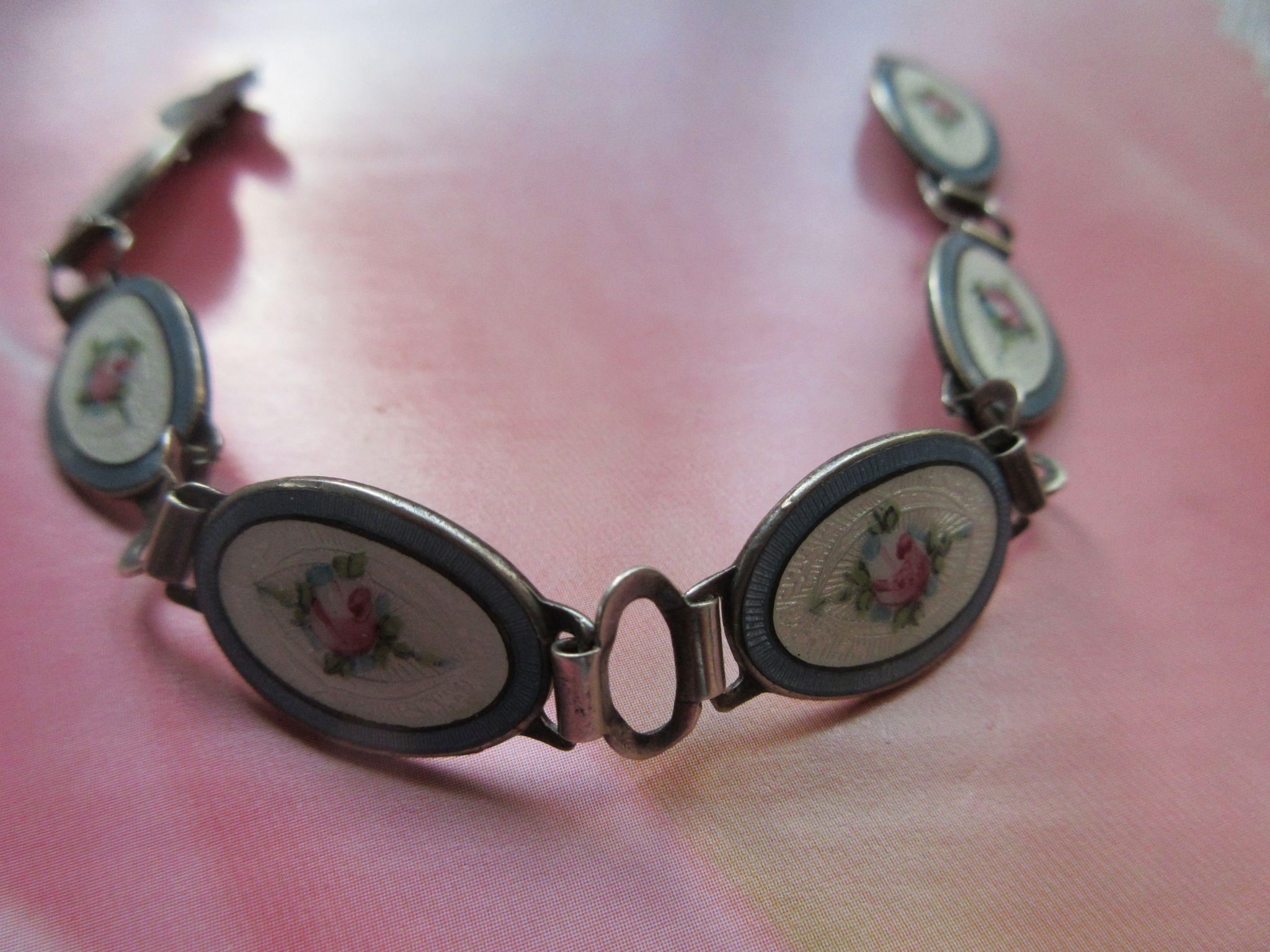 Vintage Enameled Sterling Bracelet