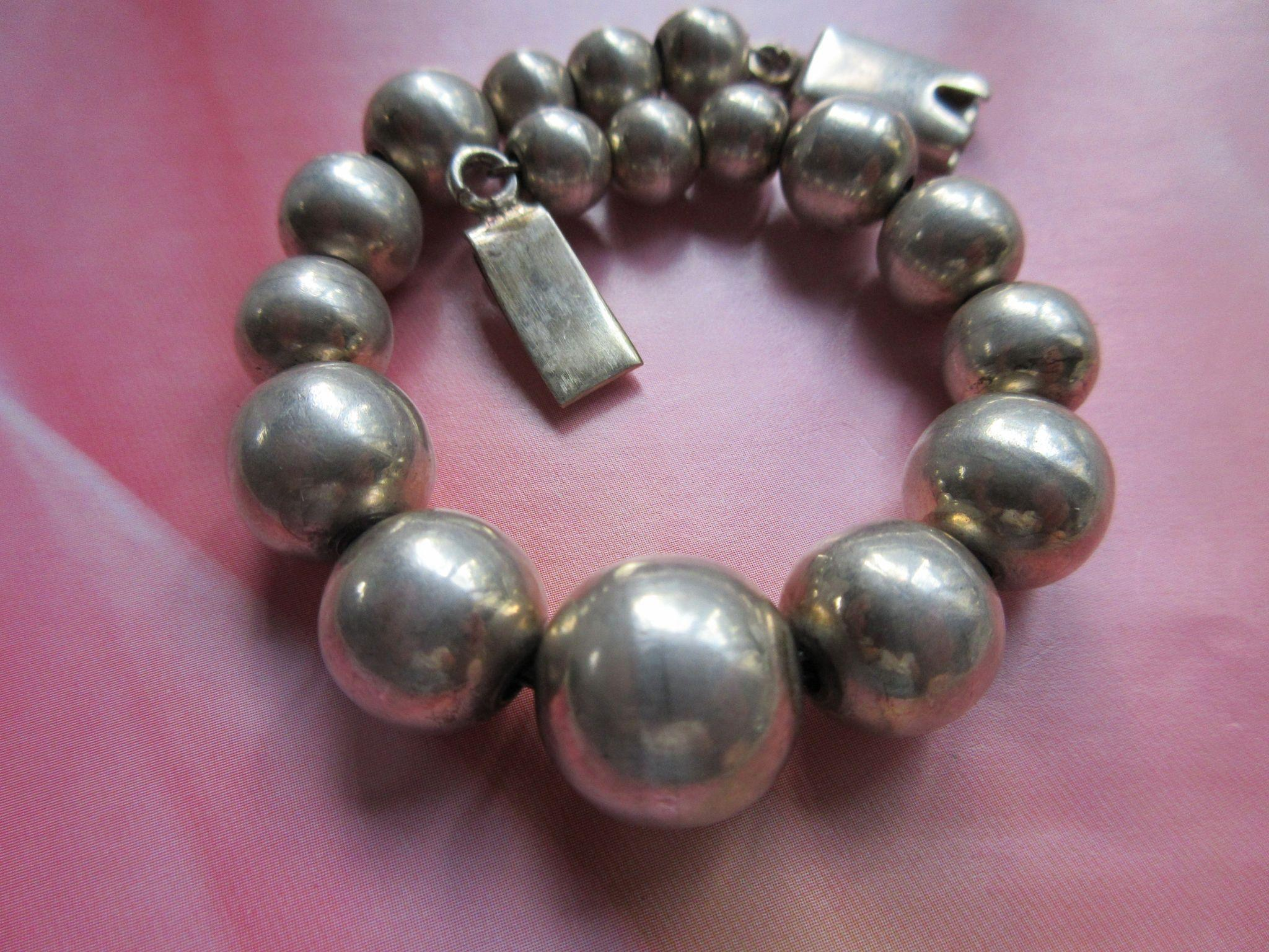 Vintage Mexican Sterling Beaded Bracelet
