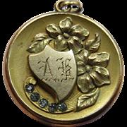 Antique Art Nouveau Paste Floral Locket