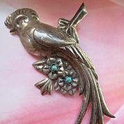Vintage Circa 1940 Prieto Repousse Bird Pin  Mexico City Silversmith