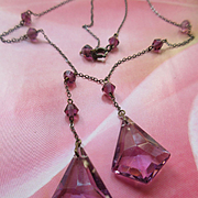 Vintage Circa 1930 Faceted Crystal Drop Necklace