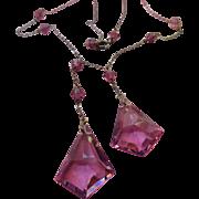 Vintage Circa 1930 Faceted Crystal Drop Necklace