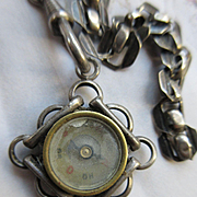 Antique Silver Toned Watch Chain Compass Fob European Hallmark