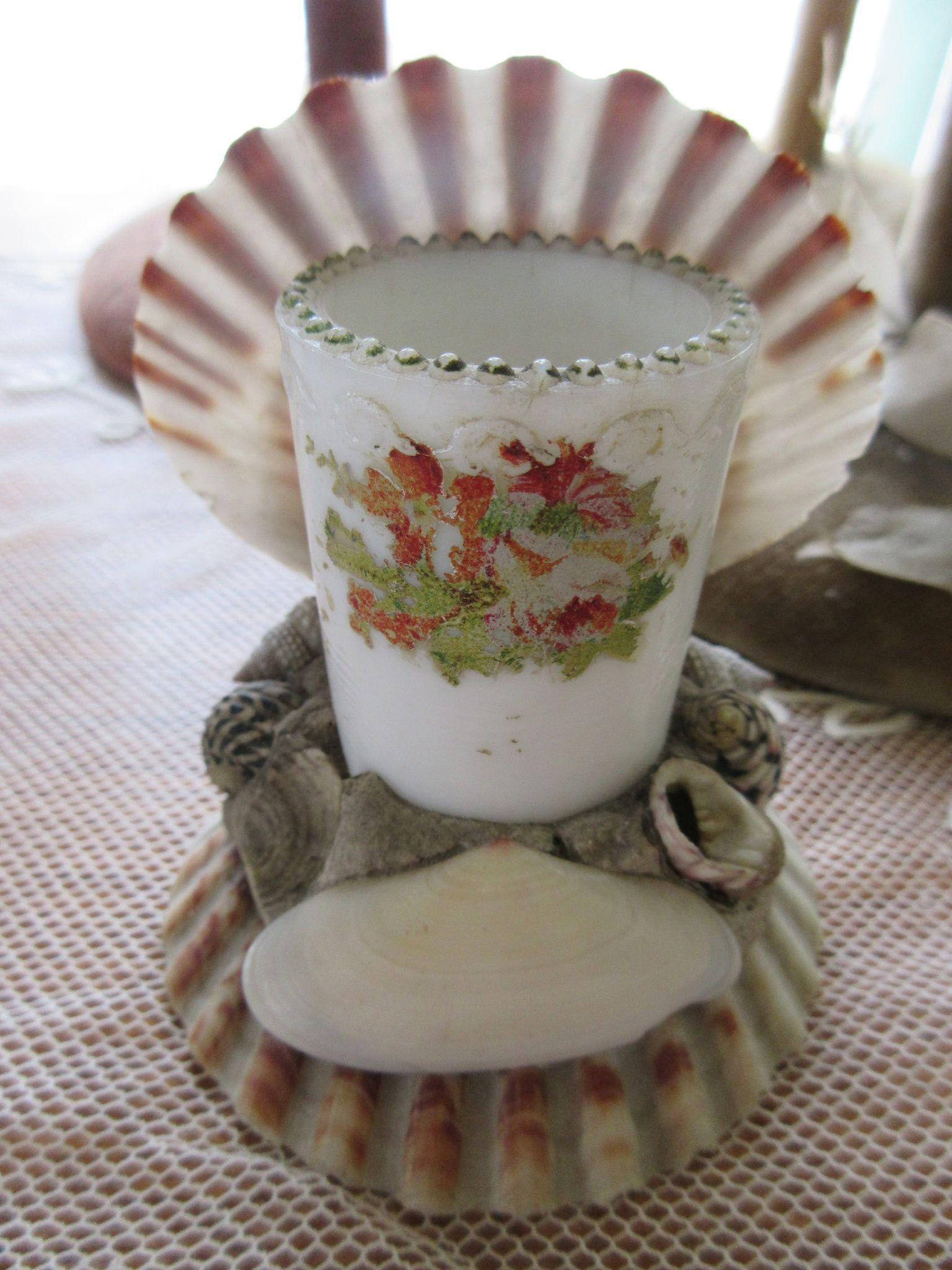 Victorian Sea Shell Art Tooth Pick Holder