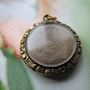 Victorian Memorial Hair Work Charm in Gold Fill