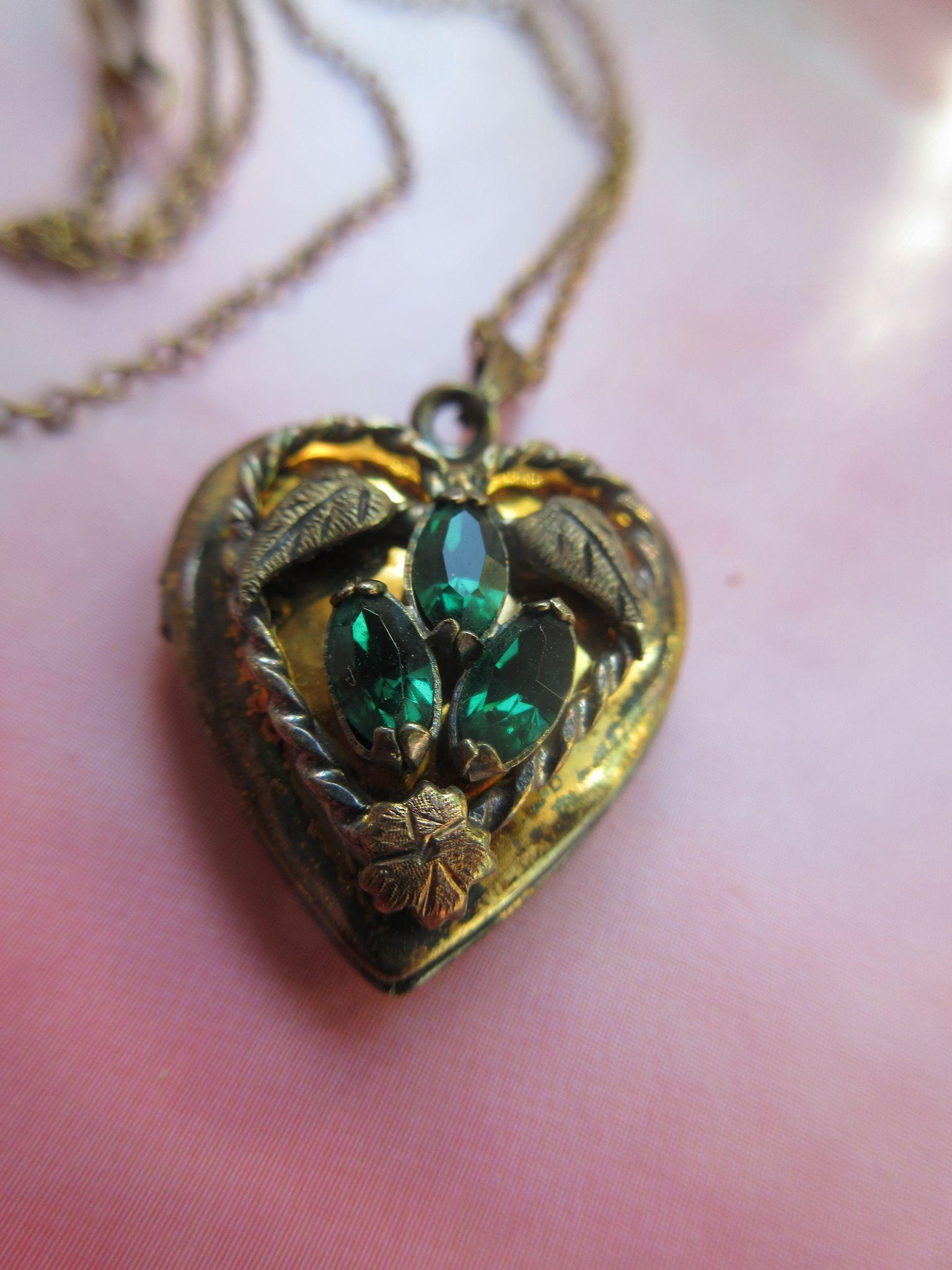 Vintage Deco Sterling Locket with Gold Wash and Emerald Paste Stones
