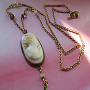 Vintage Deco 1920s Carved Cameo Jeweled Chain Necklace with Crystal Drop