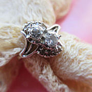Vintage 14K Diamond Ring in Celluloid Velvet Display Case