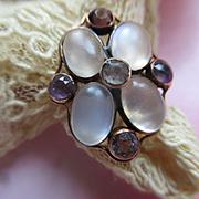 Vintage 30s 40s Moonstone Amethyst 14K Ring