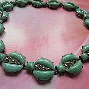 Deco Sterling Germany Amazonite Marcasite Choker Necklace