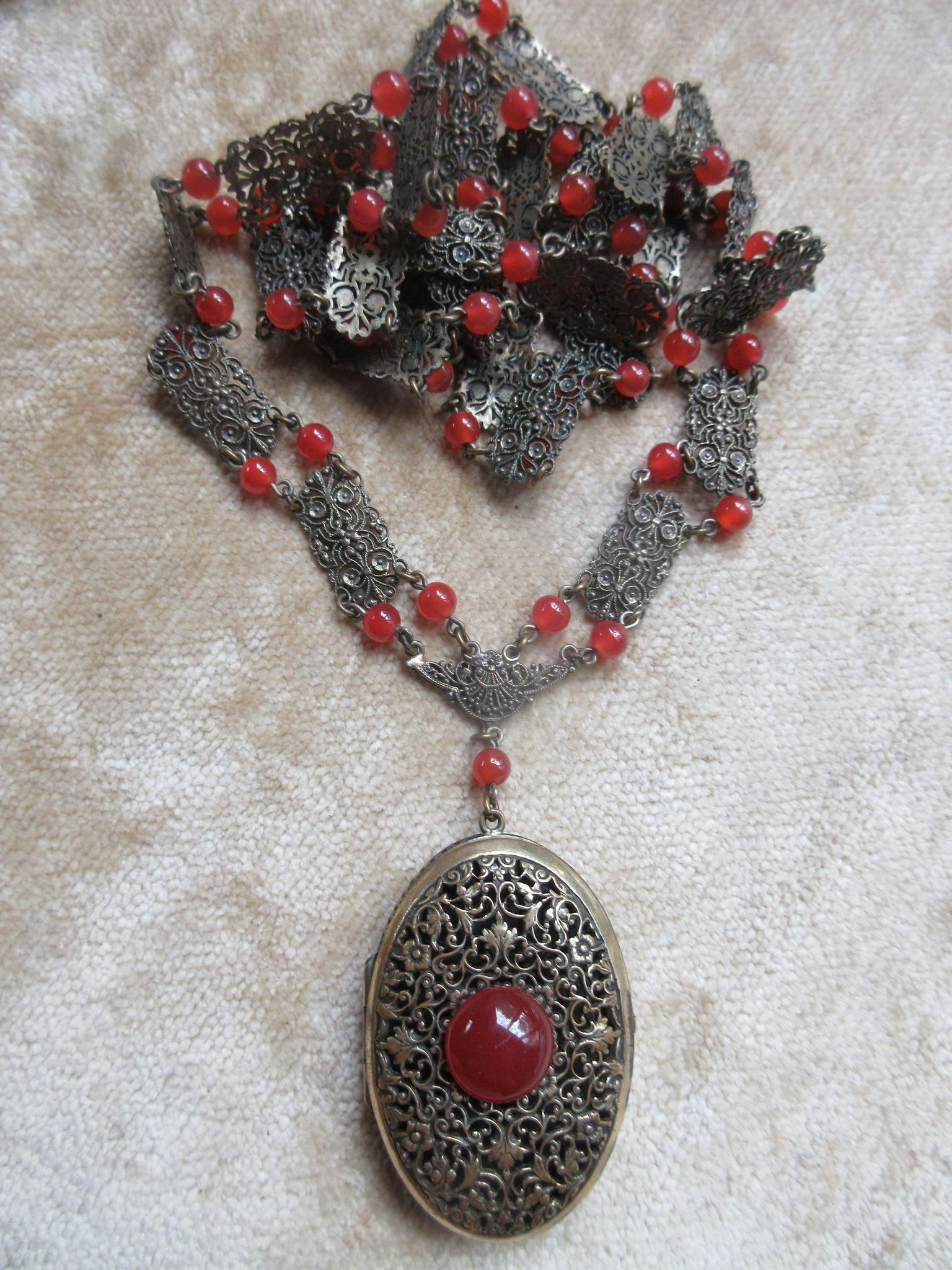 Vintage Czech Filigree Vinaigrette Locket Necklace