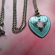 Vintage 1940s Sterling Guilloche Enameled Heart Charm Necklace