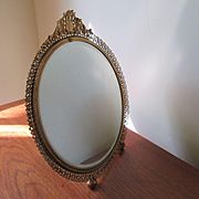 Vintage Gilt Filigree Vanity Mirror Vanity Tray