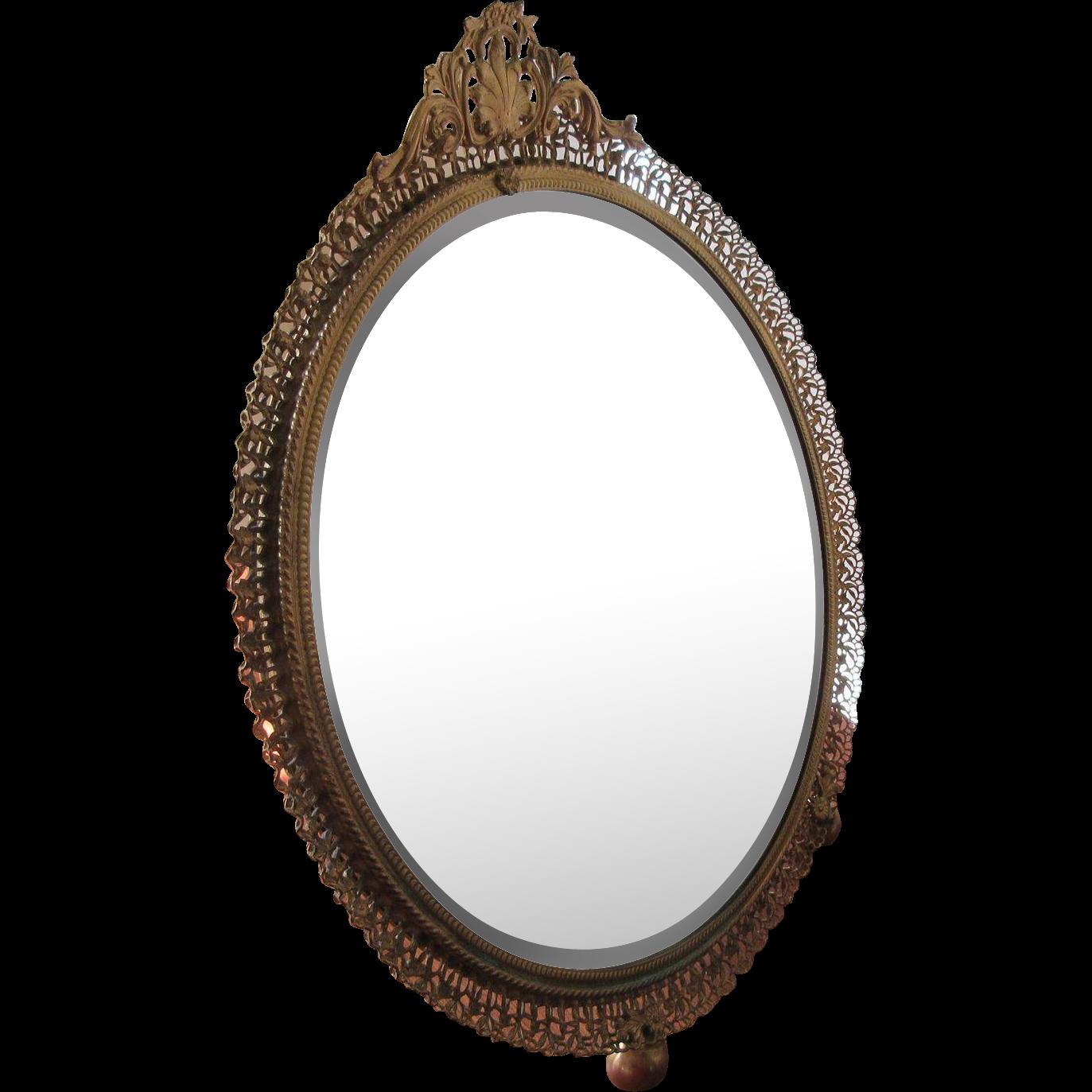 Vintage Gilt Filigree Vanity Mirror Vanity Tray Pauline