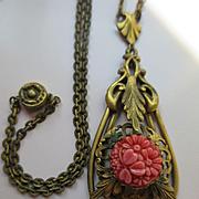 Vintage Deco 30s 40s Moldes Glass Brass Necklace