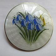 Vintage Finn Jensen Sterling Enameled Floral Pin Signed Norwegian Jewelry