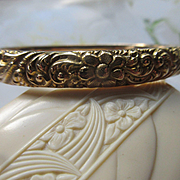 Antique Repousse 14K Bangle Bracelet