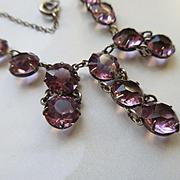 Vintage 20s 30s Open Back Amethyst Crystal Necklace