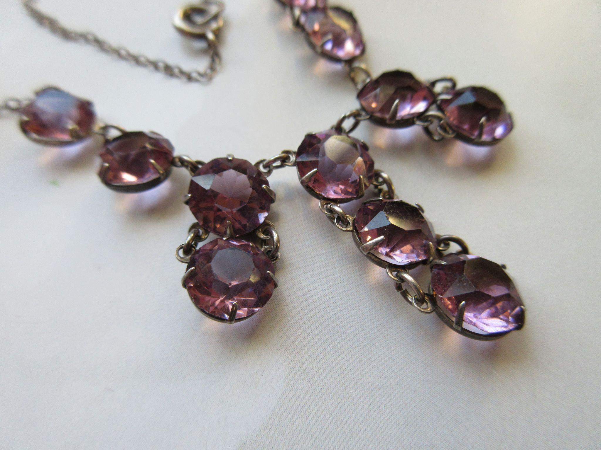 Vintage 20s 30s Open Back Amethyst Crystal Necklace