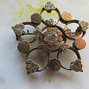 Antique Victorian Paste Snow Flake Pin in Gold Fill