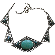 Vintage 30s Czech Necklace Enameled Peking Glass