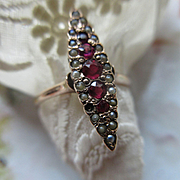 Antique 10K Ruby  Seed Pearl Navette Ring Circa 1900
