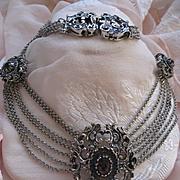 Vintage Austrian R. Ranft 800 Silver Garnet Fresh Water Pearl Festoon Necklace