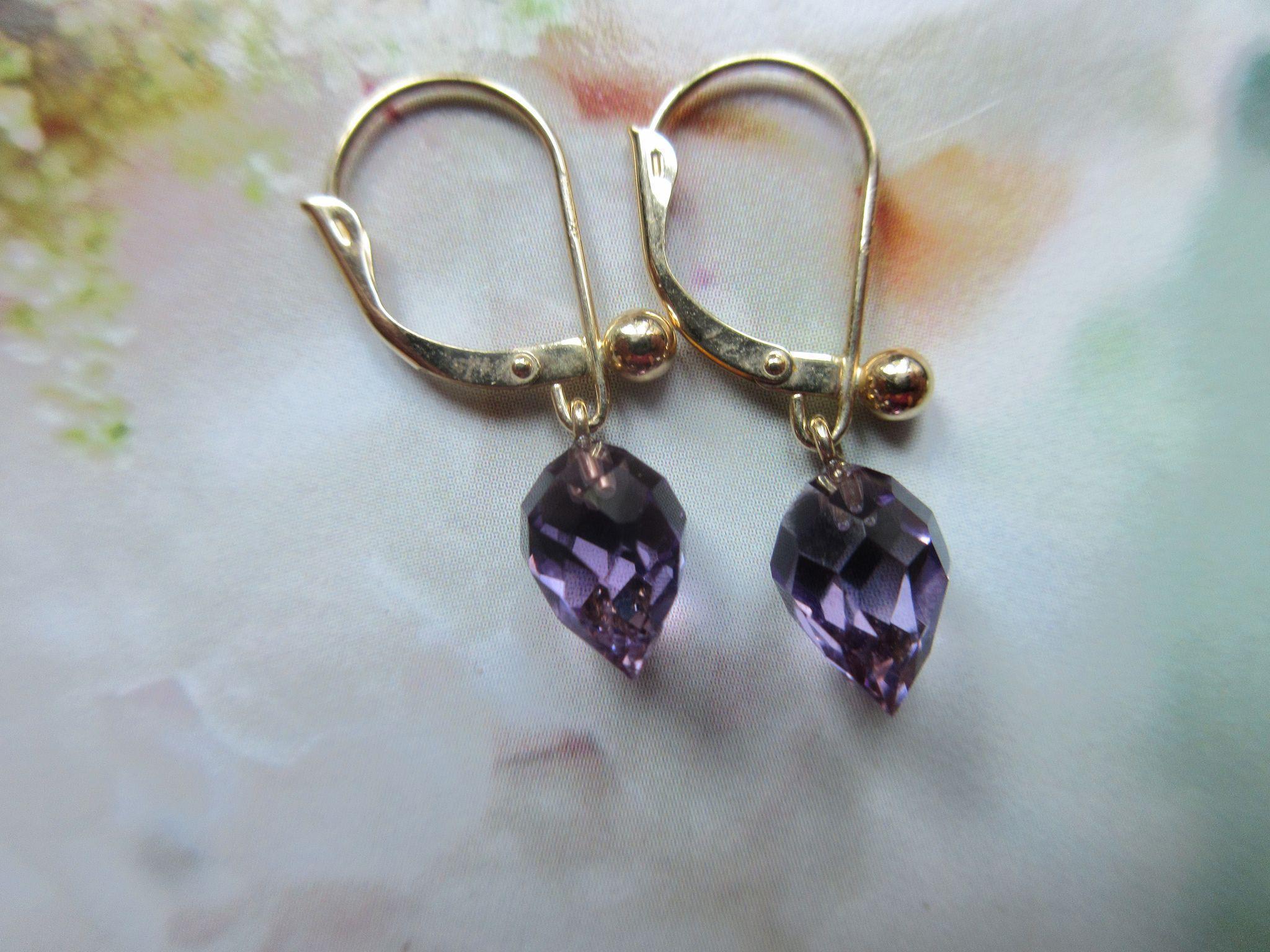 Vintage 14K Amethyst Briolette Earrings