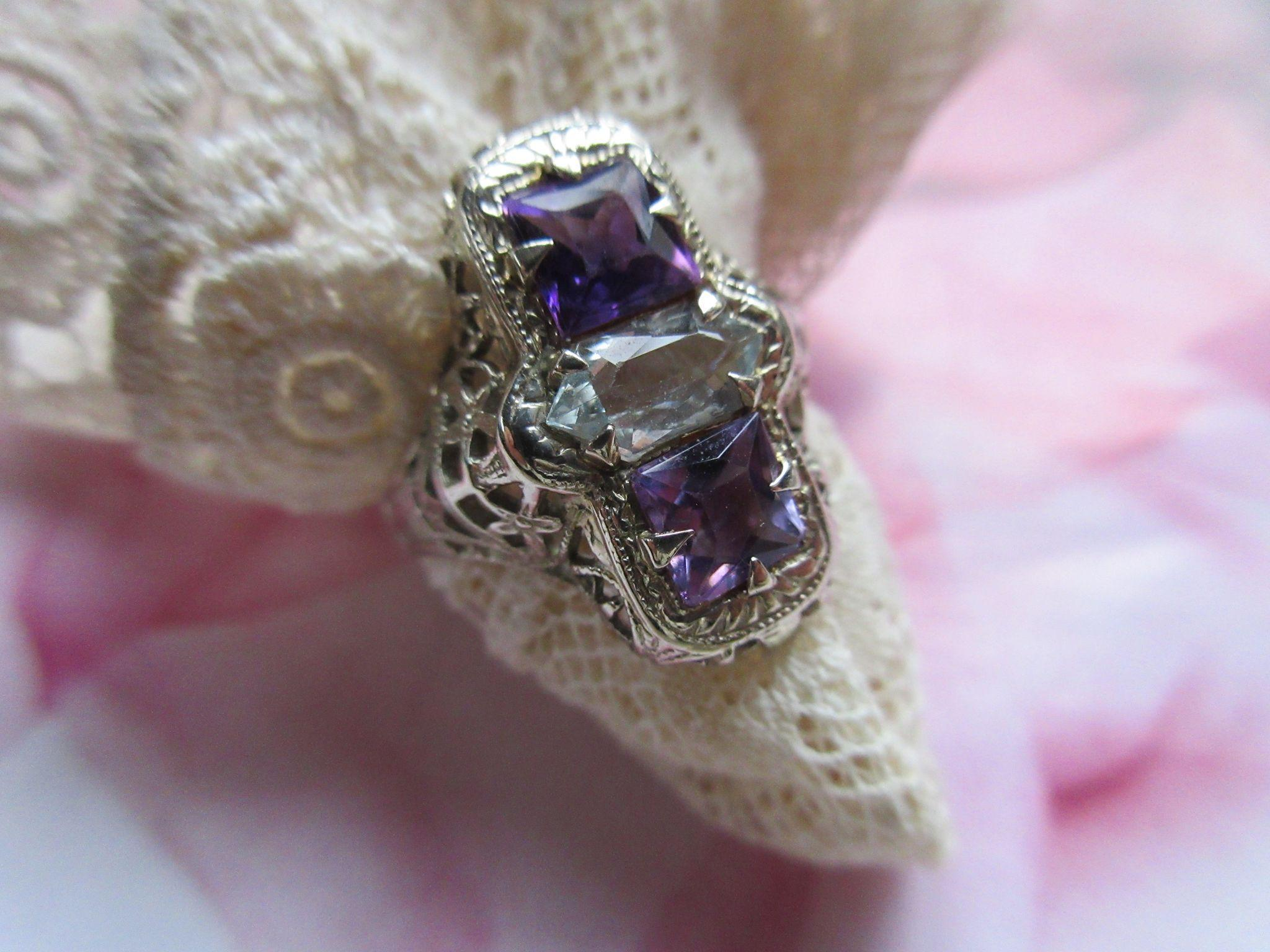 Vintage Deco Circa 1930 14K White Gold Filigree Amethyst and Aqua Ring