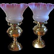 Pair Vintage Boudoir Lamps Antique Shades Cottage Style Shabby Chic Decor