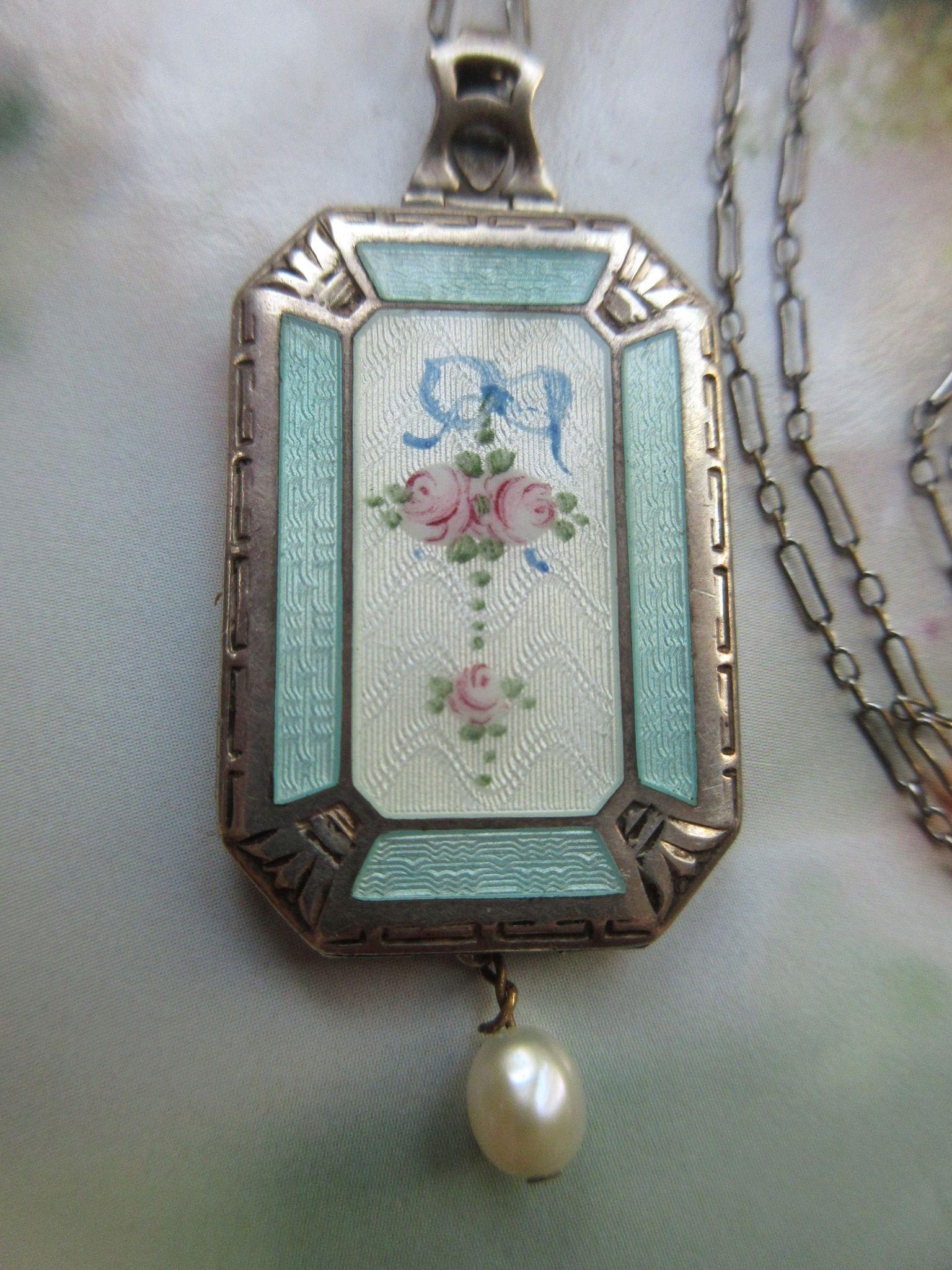 Vintage Deco Circa 1920 Guilloche Enameled Sterling Locket Necklace