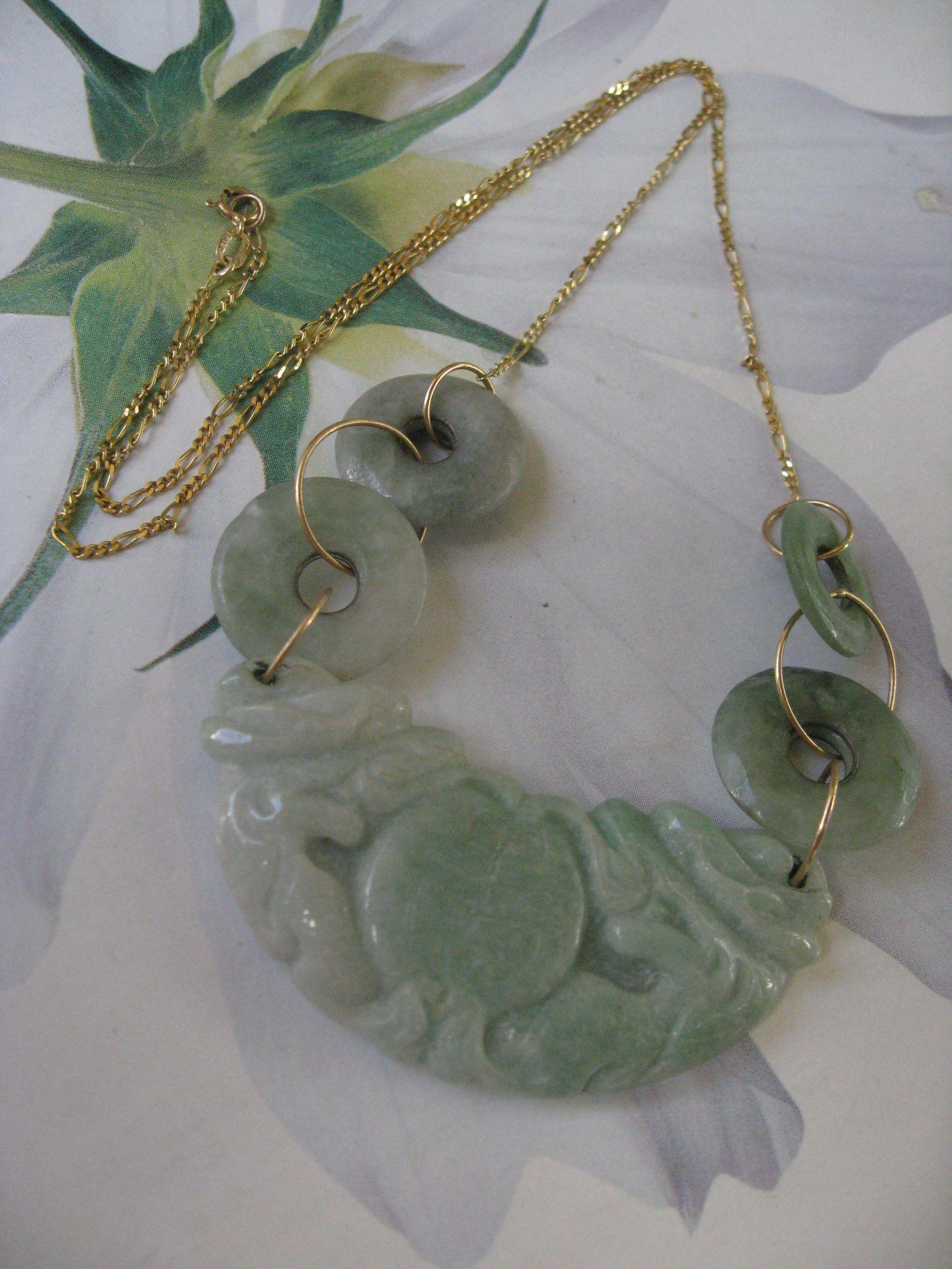 Vintage 14K Jade Necklace