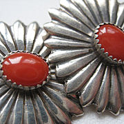 Vintage Coral Sterling Clip On Earrings