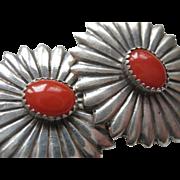 Vintage Coral Sterling Clip On Earrings