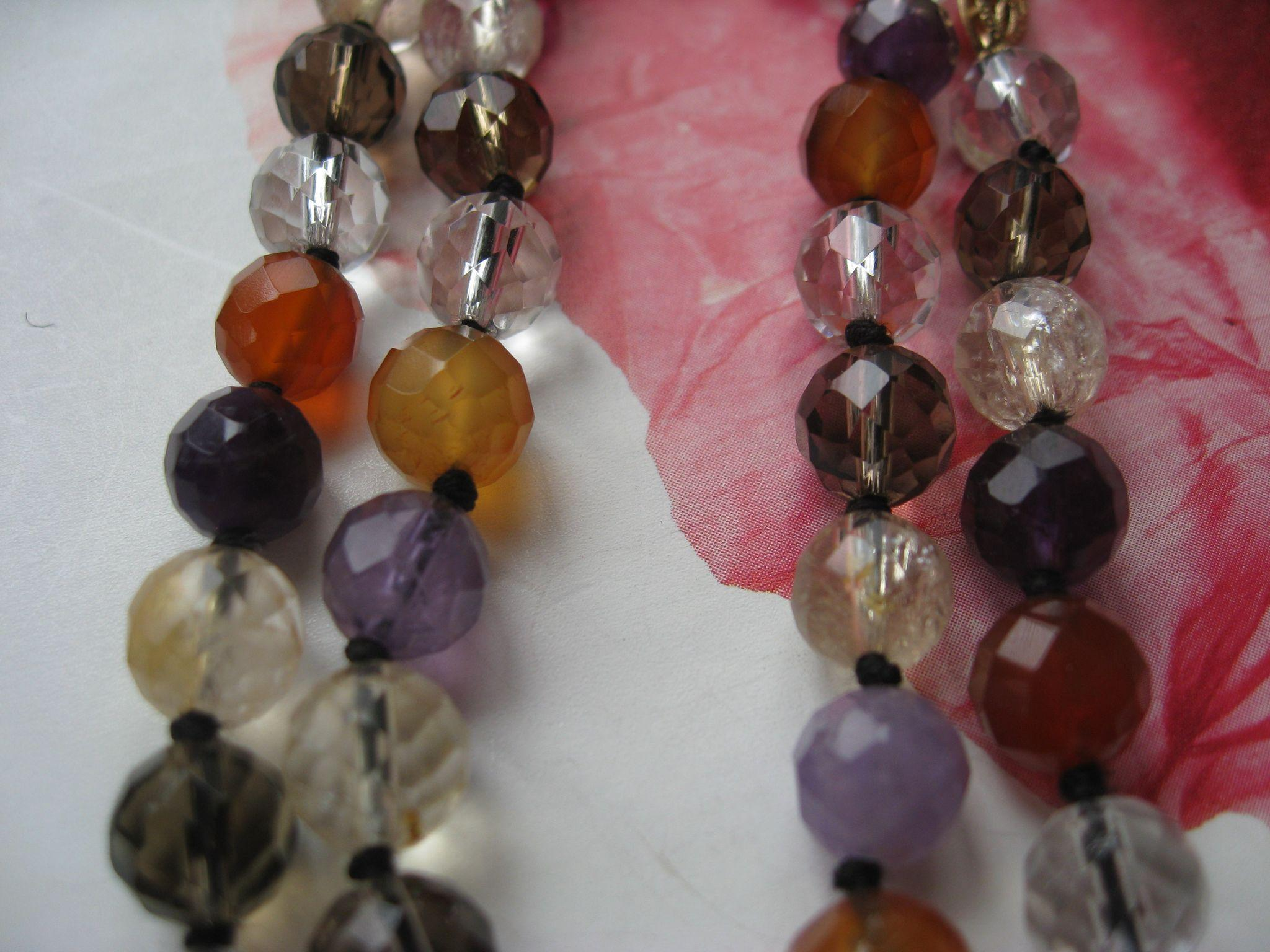 Vintage Faceted Natural Gemstone Beaded Necklace