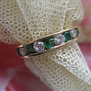 Vintage 14K Emerald Diamond Wedding Band Anniversary Band